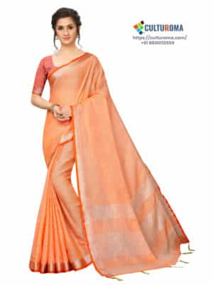 LINEN COTTON - Silver Lining Pallu And Contrast Blouse in ORANGE