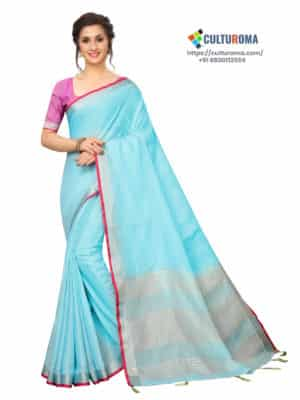 LINEN COTTON - Silver Lining Pallu And Contrast Blouse in SKY BLUE