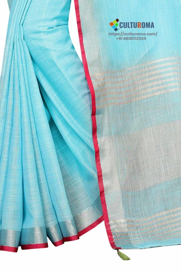 Pure Heavy Linen Cotton Silver Lining Pallu And Contrast Blouse