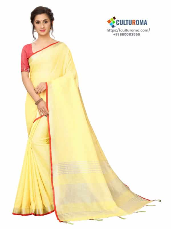 LINEN COTTON - Silver Lining Pallu And Contrast Blouse in YELLOW