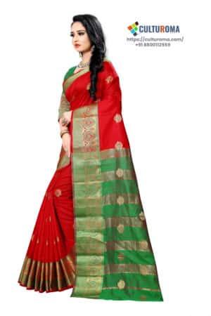 BANARASI LICHI SILK - Rich border and gold jari buti in RED