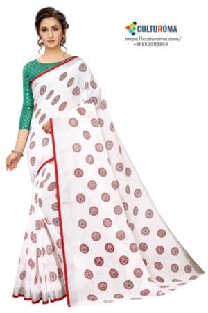 WHITE BUTTA - White Linen Cotton- With Body RED Border Saree