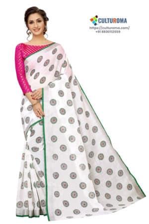 WHITE BUTTA - White Linen Cotton - With GREEN Border saree