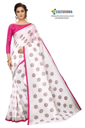 WHITE BUTTA - White Linen Cotton with Pink Border Saree