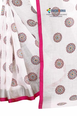 Pure Heavy Wjite Linen Cotton All Over Printed Butaa Contrast Blouse